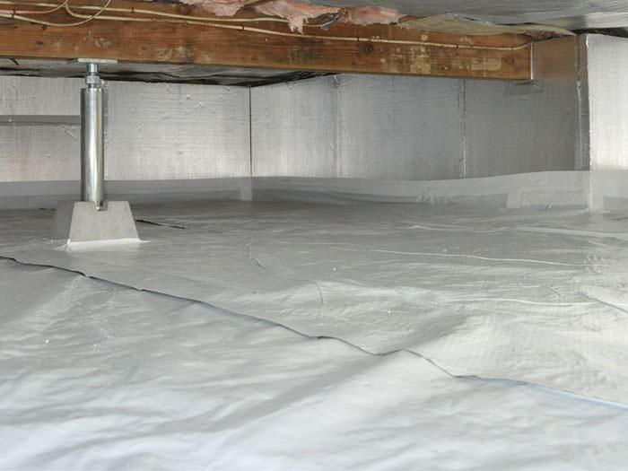 Crawl space insulation with silverglo in california for Concrete crawl space floor