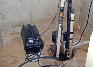 Pedestal sump pump system installed in a home in Somis