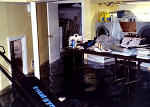 A laundry room flood in Simi Valley, with several feet of water flooded in.