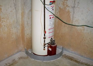 A water heater in Goleta that's been protected by the FloodRing® and a perimeter drain system.