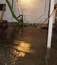 Several feet of floodwaters in a  basement