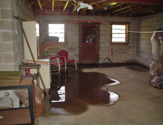 a flooded basement floor in a  home