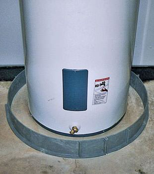 An old water heater in , CA with flood protection installed