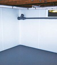 Plastic basement wall panels installed in a Ojai, California home
