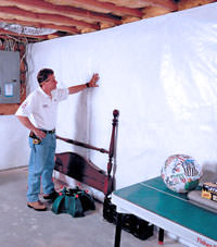 Plastic 20-mil vapor barrier for dirt basements, Ojai, California installation