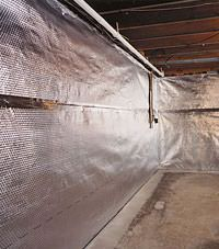 Radiant heat barrier and vapor barrier for finished basement walls in Ojai, California
